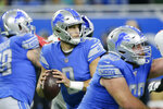 Detroit Lions quarterback Matthew Stafford looks downfield during the first half of an NFL football game against the New York Giants, Sunday, Oct. 27, 2019, in Detroit. (AP Photo/Duane Burleson)
