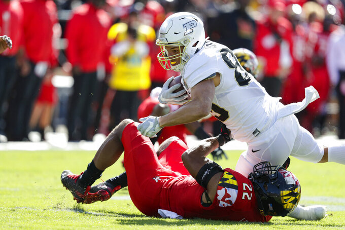 Purdue tight end Brycen Hopkins (89) is tackled by Maryland linebacker Isaiah Davis (22) during the first half of an NCAA college football game in West Lafayette, Ind., Saturday, Oct. 12, 2019. (AP Photo/Michael Conroy)