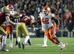 Clemson defensive lineman Christian Wilkins (42) pursues during a play against Boston College in the second half of an NCAA college football game, Saturday, Nov. 10, 2018, in Boston. (AP Photo/Elise Amendola)