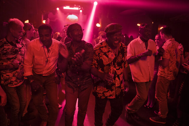 This image released by Netflix shows, from second left, Norm Lewis, Clarke Peters Isiah Whitlock Jr., and Delroy Lindo in a scene from