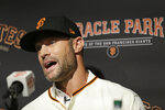 San Francisco Giants manager Gabe Kapler answers questions during a news conference at Oracle Park Wednesday, Nov. 13, 2019, in San Francisco. Gabe Kapler has been hired as manager of the San Francisco Giants, a month after being fired from the same job by the Philadelphia Phillies. Kapler replaces Bruce Bochy, who retired at the end of the season following 13 years and three championships with San Francisco. (AP Photo/Eric Risberg)
