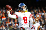 New York Giants quarterback Daniel Jones (8) throws against the Chicago Bears during the first half of an NFL football game in Chicago, Sunday, Nov. 24, 2019. (AP Photo/Paul Sancya)
