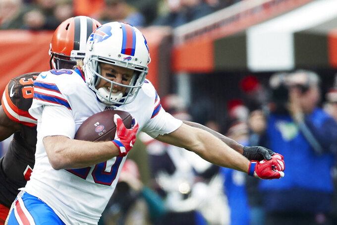 FILE - Buffalo Bills wide receiver Cole Beasley (10) runs the ball against the Cleveland Browns during an NFL game on Sunday, Nov. 10, 2019 in Cleveland. Beasley wouldn't go so far as to call it an epiphany in determining he's going to focus less on personal production and more on team goals. (AP Photo/Rick Osentoski, File)