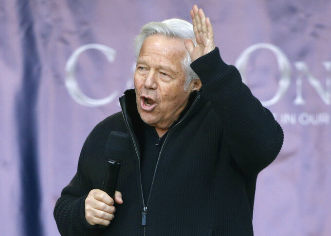 File-This Jan. 27, 2019, file photo shows New England Patriots owner Robert Kraft addressing the crowd during an NFL football Super Bowl send-off rally for the team, in Foxborough, Mass. Kraft now says he wants his misdemeanor solicitation of prostitution charge tried by a jury, not a judge. Kraft's attorneys filed a court notice Tuesday, March 26, 2019, also waiving his arraignment, which had been scheduled for Thursday. His lawyer's also reiterated his not guilty plea, which he made last month. Kraft and 24 other men were charged in Palm Beach County as part of a multicounty crackdown on massage parlor prostitution. (AP Photo/Steven Senne, File)
