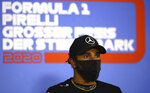 Mercedes driver Lewis Hamilton of Britain speaks during a news conference at the Red Bull Ring racetrack in Spielberg, Austria, Thursday, July 9, 2020. Styrian Formula One Grand Prix will be held on Sunday. (Bryn Lennon/Pool via AP)