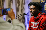Alabama's Kira Lewis Jr speaks during the Southeastern Conference NCAA college basketball media day Wednesday, Oct. 16, 2019, in Birmingham, Ala. (AP Photo/Butch Dill)