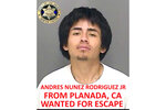 This undated booking photo released by the Merced County Sheriff's Office shows escapee inmate Andres Nunez Rodriguez Jr., from Planada, Calif. Authorities in central California are searching for six inmates, including Rodriguez, who used a