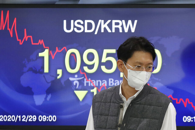 A currency trader walks by the screen showing the foreign exchange rate between U.S. dollar and South Korean won at the foreign exchange dealing room in Seoul, South Korea, Tuesday, Dec. 29, 2020. Stocks rose Tuesday in Asia after closing at record highs on Wall Street.  Japan's Nikkei 225 index breached a nearly 30-year high after President Donald Trump signed a $900 billion economic aid package on Monday, helping to staunch uncertainty as governments reimpose pandemic restrictions to fight rising coronavirus caseloads.  (AP Photo/Lee Jin-man)