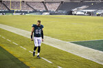 Philadelphia Eagles' Zach Ertz walks to the locker room after an NFL football game against the Washington Football Team, Sunday, Jan. 3, 2021, in Philadelphia. (AP Photo/Derik Hamilton)