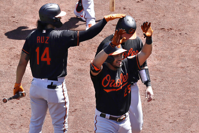 Baltimore Orioles' Anthony Santander, center front, celebrates a two-run home with Rio Ruiz, left, and Chance Sisco, behind right, as he returns to the dugout in the fourth inning of a baseball game against the Boston Red Sox, Sunday, July 26, 2020, in Boston. (AP Photo/Steven Senne)