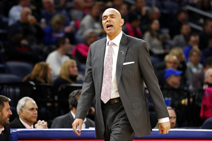 DePaul coach Dave Leitao yells to players during the first half of the team's NCAA college basketball game against Villanova on Wednesday, Feb. 19, 2020, in Chicago. (AP Photo/Jeff Haynes)