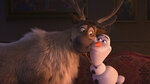 This image released by Disney shows characters Sven, left, and Olaf, voiced by Josh Gad, in a scene from