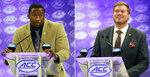 FILE - At left, in a July 19, 2018, file photo, Clemson's Clelin Ferrell answers a question during a news conference at the NCAA Atlantic Coast Conference college football media day in Charlotte, N.C. At right, also in a July 19, 2018, file photo, Clemson's Mitch Hyatt answers a question at the NCAA Atlantic Coast Conference college football media day in Charlotte, N.C. No. 2 Clemson once again dominated the Associated Press All-Atlantic Coast Conference teams and individual awards released Tuesday, Dec. 4, 2018. Offensive tackle Mitch Hyatt was a unanimous pick for the second straight year. Defensive end Clelin Ferrell is the defensive player of the year. (AP Photo/Chuck Burton, File)