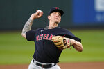 Cleveland Indians starting pitcher Zach Plesac throws to a Seattle Mariners batter during the fifth inning of a baseball game Thursday, May 13, 2021, in Seattle. (AP Photo/Elaine Thompson)
