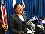 FILE - In this May 30, 2018 file photo St. Louis Circuit Attorney Kim Gardner speaks at a news conference announcing that her office dismissed felony computer data tampering charges against Missouri Gov. Eric Greitens. A judge on Tuesday, July 16, 2019 appointed a special prosecutor to investigate claims that attorneys for Greitens threatened to