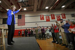 People applaud Democratic presidential candidate Sen. Elizabeth Warren, D-Mass., at a campaign event, Tuesday, Oct. 29, 2019, in Laconia, N.H. (AP Photo/Elise Amendola)