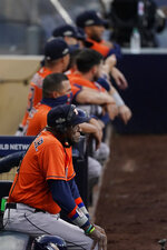 Houston Astros manager Dusty Baker Jr. for the start of Game 7 of a baseball American League Championship Series against the Tampa Bay Rays, Saturday, Oct. 17, 2020, in San Diego. (AP Photo/Ashley Landis)
