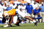 Tennessee wide receiver Jauan Jennings (15) is tackled by a Georgia State player in the first half of an NCAA college football game Saturday, Aug. 31, 2019, in Knoxville, Tenn. (AP Photo/Wade Payne)