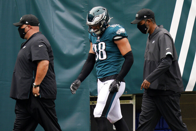 Philadelphia Eagles' Dallas Goedert walks to the locker room during the first half of an NFL football game against the Cincinnati Bengals, Sunday, Sept. 27, 2020, in Philadelphia. (AP Photo/Chris Szagola)
