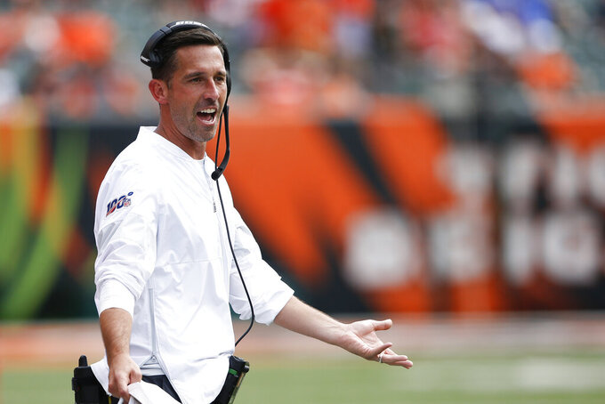 San Francisco 49ers head coach Kyle Shanahan works the sidelines during the second half an NFL football game against the Cincinnati Bengals, Sunday, Sept. 15, 2019, in Cincinnati. (AP Photo/Gary Landers)