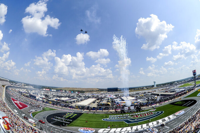 CORRECTS DAY TO SUNDAY Two F-15E Strike Eagles perform a Fly By prior to the start of a NASCAR Cup Series auto race at Charlotte Motor Speedway Sunday, Sept. 29, 2019 in Concord, N.C. (AP Photo/Mike McCarn)