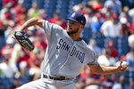 San Diego Padres' Joey Lucchesi pitches during the second inning of a baseball game against the Philadelphia Phillies, Sunday, Aug. 18, 2019, in Philadelphia. (AP Photo/Matt Rourke)