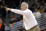Oregon State head coach Wayne Tinkle yells out instructions during the first half of an NCAA college basketball game against Southern California Saturday, Feb. 23, 2019, in Los Angeles. (AP Photo/Marcio Jose Sanchez)