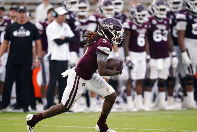 Mississippi State wide receiver Lideatrick Griffin (5) runs upfield with a kickoff return against Louisiana Tech during the second half of an NCAA college football game in Starkville, Miss., Saturday, Sept. 4, 2021. Mississippi State won 35-34. (AP Photo/Rogelio V. Solis)