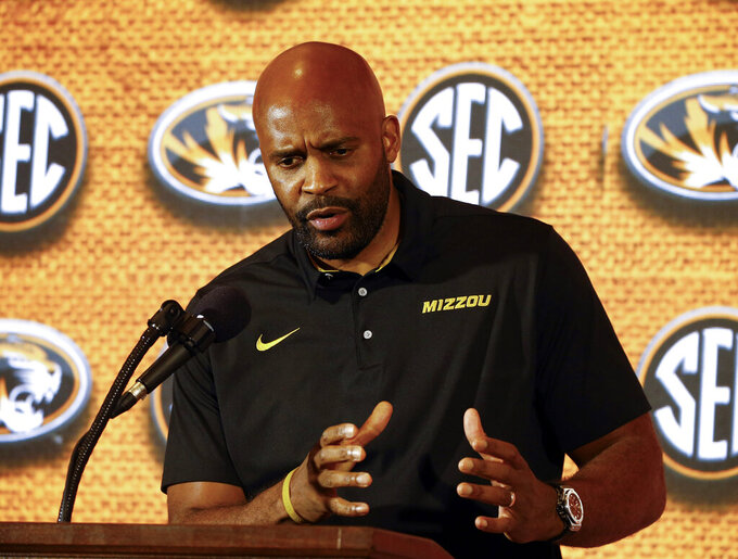 FILE - In this Oct. 17, 2018, file photo, Missouri coach Cuonzo Martin speaks during the SEC men's NCAA college basketball media day in Birmingham, Ala. There is no five-star prospect for Missouri to hang its hopes on this season, nor is there a hot-shot brother of a five-star prospect who himself brought the Tigers big expectations. Instead, Martin might have his most complete and compelling team since arriving in Columbia, one that figures to improve significantly on its 5-13 record in the SEC last season. (AP Photo/Butch Dill, File)