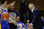 Pittsburgh head coach Jeff Capel is called fror a technical foul during the first half of an NCAA college basketball game against Duke in Durham, N.C., Tuesday, Jan. 28, 2020. (AP Photo/Gerry Broome)