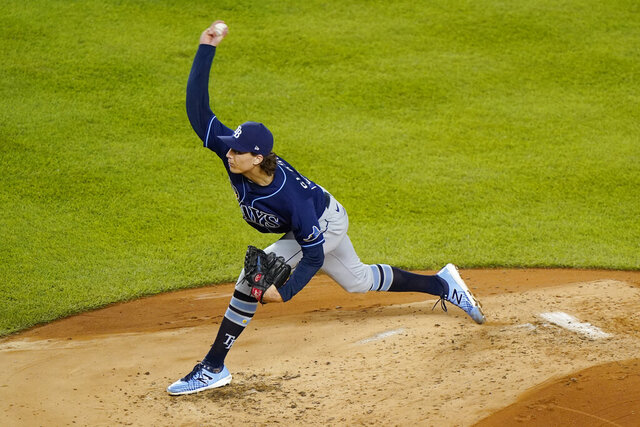 Tampa Bay Rays starting pitcher Tyler Glasnow winds up during the second inning of a baseball game against the New York Yankees, Monday, Aug. 31, 2020, at Yankee Stadium in New York. (AP Photo/Kathy Willens)
