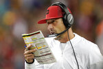 San Francisco 49ers head coach Kyle Shanahan walks on the sideline during the second half of an NFL football game between the 49ers and the Green Bay Packers in Santa Clara, Calif., Sunday, Nov. 24, 2019. (AP Photo/Tony Avelar)
