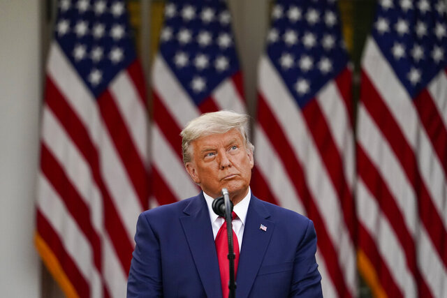 FILE - In this Nov. 13, 2020, file photo President Donald Trump speaks in the Rose Garden of the White House in Washington. (AP Photo/Evan Vucci, File)