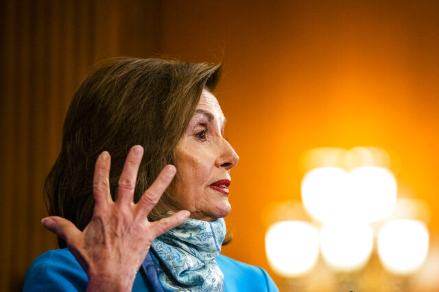 House Speaker Nancy Pelosi of Calif., speaks during a news conference on Capitol Hill, Thursday, May 7, 2020, in Washington. (AP Photo/Manuel Balce Ceneta)