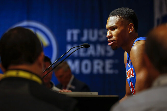 Florida's Kerry Blackshear Jr. speaks during the Southeastern Conference NCAA college basketball media day, Wednesday, Oct. 16, 2019, in Birmingham, Ala. (AP Photo/Butch Dill)