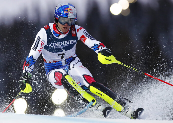 France's Alexis Pinturault speeds down the course during the slalom portion of the men's combined competition, at the alpine ski World Championships in Are, Sweden, Monday, Feb. 11, 2019. (AP Photo/Gabriele Facciotti)