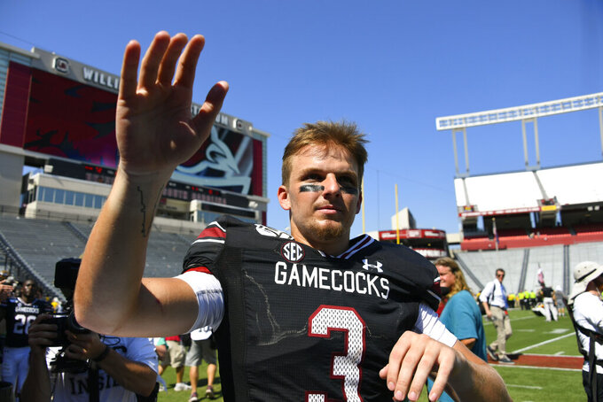 South Carolina quarterback Ryan Hilinski waves to fans after an NCAA college football game against Charleston Southern, Saturday, Sept. 7, 2019, in Columbia, S.C. South Carolina won 72-10. (AP Photo/John Amis)