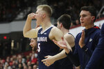 Gonzaga guard Martynas Arlauskas (5) and teammates celebrate during the second half of an NCAA college basketball game against Santa Clara in Santa Clara, Calif., Thursday, Jan. 30, 2020. (AP Photo/Jeff Chiu)