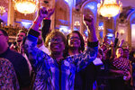 Supporters at mayoral candidate Lori Lightfoot's election night rally at the Hilton Chicago cheer as poll numbers trickle in, showing Lightfoot in the lead against Toni Preckwinkle in the Chicago mayoral election, Tuesday, April 2, 2019. (Ashlee Rezin/Chicago Sun-Times via AP)