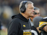 Iowa head coach Kirk Ferentz watches the first half of an NCAA college football game against Minnesota, Saturday, Nov. 16, 2019, in Iowa City, Iowa. (AP Photo/Matthew Putney)