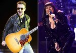 """This combination photo shows Eric Church performing at the 2016 Stagecoach Festival in Indio, Calif., on April 29, 2016, left, and Jazmine Sullivan performing at the Pre-Grammy Gala And Salute To Industry Icons in Beverly Hills, Calif., on Feb. 9, 2019. Sullivan and Church will join forces to sing the national anthem at the next month's Super Bowl, where Grammy-winning singer H.E.R. will perform """"America the Beautiful."""" (Photo by Chris Pizzello/Invision/AP, File)"""