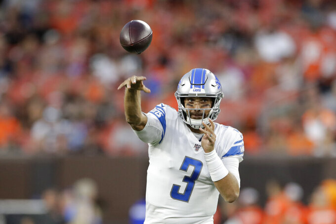 Detroit Lions quarterback Tom Savage throws a pass during the first half of the team's NFL preseason football game against the Cleveland Browns, Thursday, Aug. 29, 2019, in Cleveland. (AP Photo/Ron Schwane)