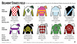 Graphic shows horses in the Belmont Stakes with post positions and silks; 4c x 3 1/2 inches; 195.7 mm x 88 mm;