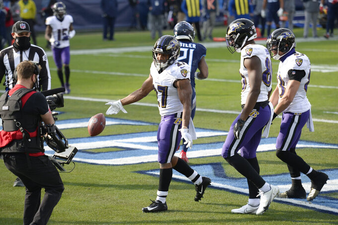 Baltimore Ravens running back J.K. Dobbins (27) tosses the ball away after scoring a touchdown against the Tennessee Titans in the second half of an NFL wild-card playoff football game Sunday, Jan. 10, 2021, in Nashville, Tenn. (AP Photo/Mark Zalesk40