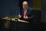 United Nations Secretary General Antonio Guterres addresses the 76th Session of the U.N. General Assembly, Tuesday, Sept. 21, 2021, at United Nations headquarters in New York. (Timothy A. Clary/Pool Photo via AP)