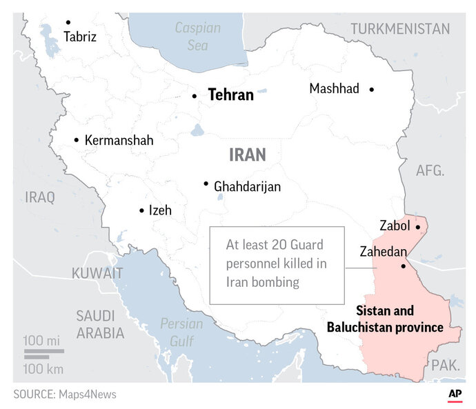 Map locates Sistan and Baluchistan in Iran.;