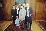 FILE - In this Oct. 1, 1993, file photo, Supreme Court Justice Ruth Bader Ginsburg, center, poses with her family at the Court in Washington. From left are, son-in-law George Spera, daughter Jane Ginsburg, husband Martin, son James Ginsburg. The judge's grandchildren Clara Spera and Paul Spera are in front. (AP Photo/Doug Mills, File)