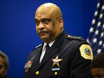 Chicago Police Department Supt. Eddie Johnson announces his retirement during a press conference at CPD headquarters in Chicago, Thursday, Nov. 7, 2019 in Chicago. (Ashlee Rezin Garcia/Chicago Sun-Times via AP)