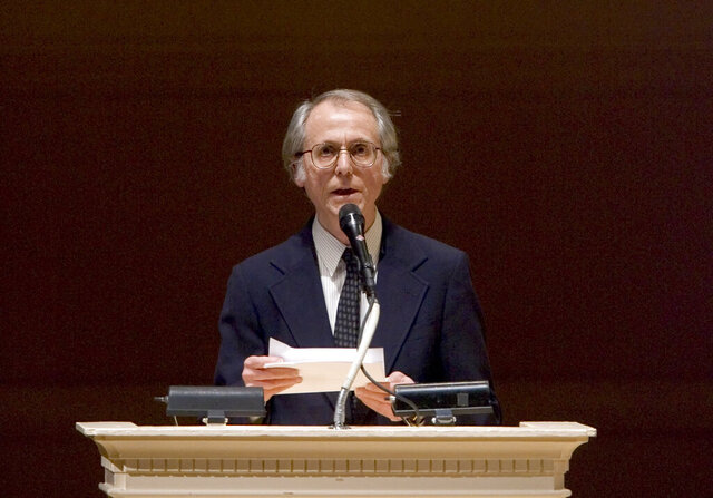FILE - In this April 9, 2008 file photo, author Don DeLillo speaks at