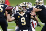 New Orleans Saints quarterback Drew Brees (9) passes in the second half of an NFL football game against the Tampa Bay Buccaneers in New Orleans, Sunday, Sept. 13, 2020. (AP Photo/Brett Duke)